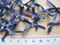 4 Schleifchen in java-blau mit kl. Perle