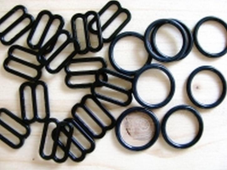 4 Schieber und 4 Ringe in schwarz - 14mm