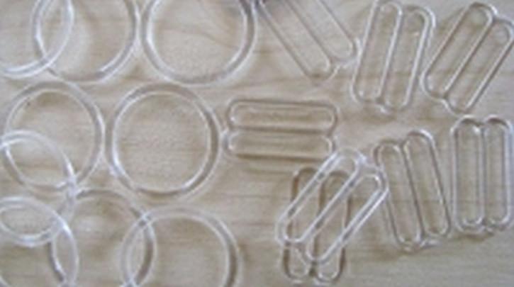 4 Schieber und 4 Ringe klar/transparent - 18mm