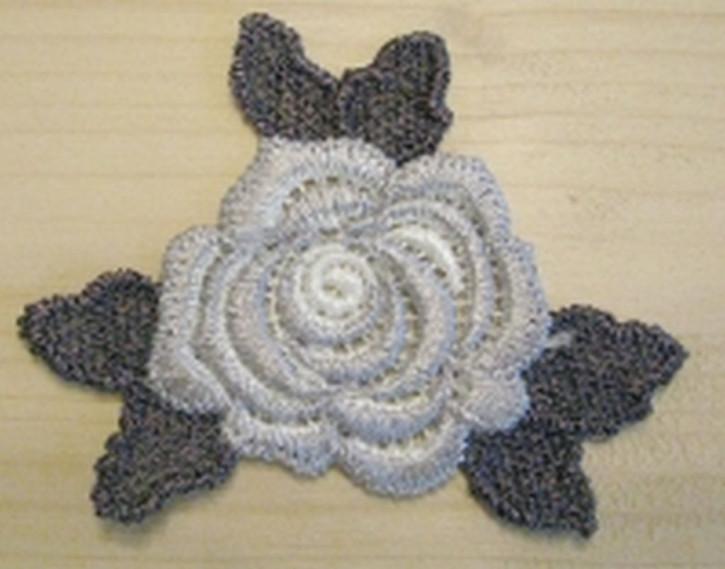 Spitzenapplikation -Rose- in grau und silber