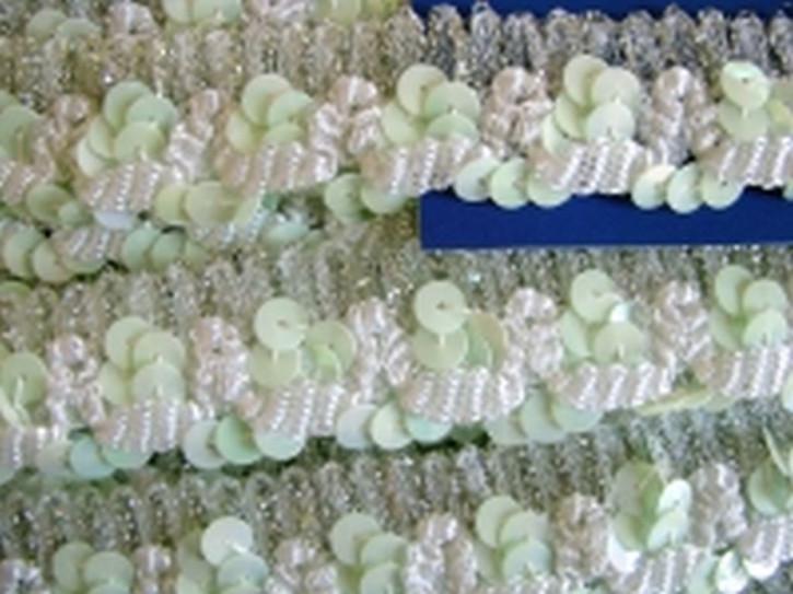 Paillettenborte in zart-grün/silber