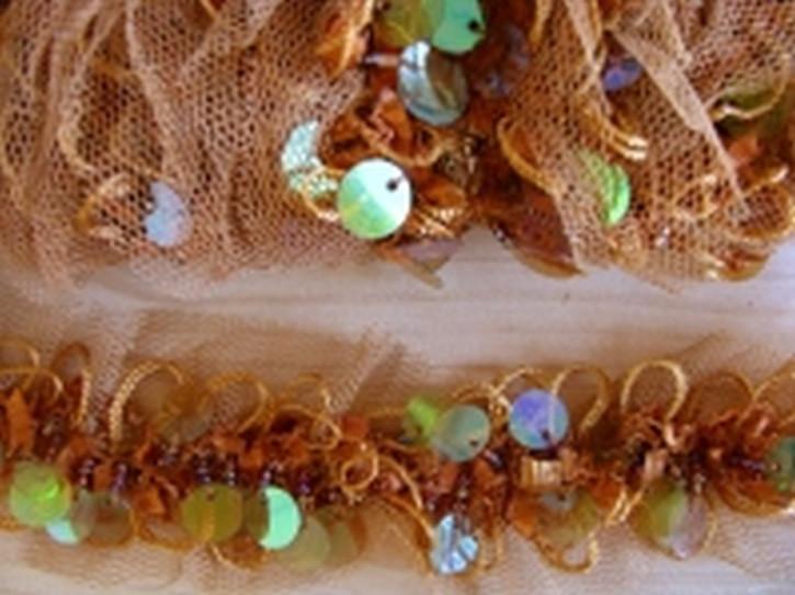1m elastische Tüll-Rüschen-Borte mit Pailletten