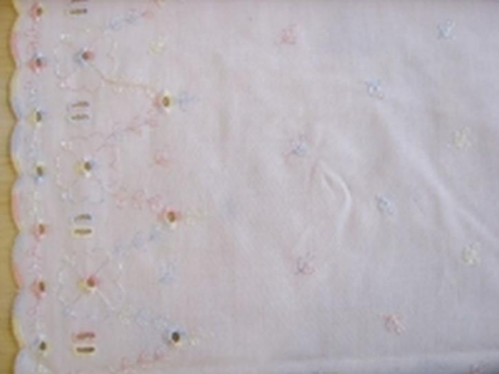 BW-Spitze in in rein-weiß mit Pastell-Stickerei