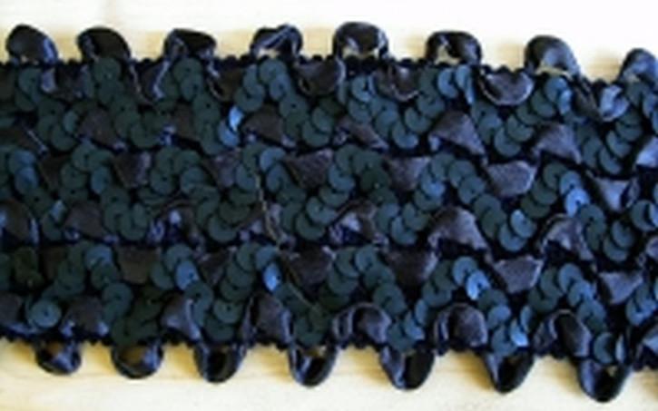 elastische Pailletten-Borte abend-blau