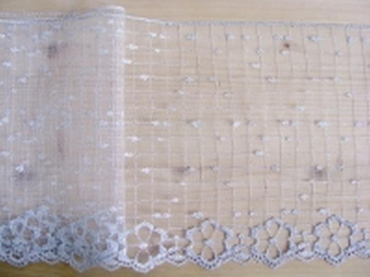 Tüll-Spitze in rein-weiß und silber Lurex
