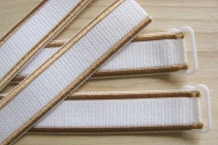 1 Paar fertige Träger in weiß und goldbraunem Streifen