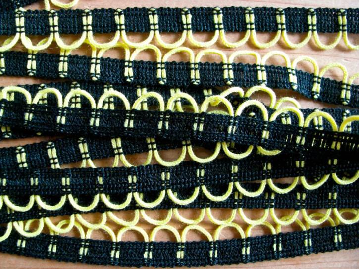 5m Posamenten-Borte in schwarz Fb4000...neon-gelb