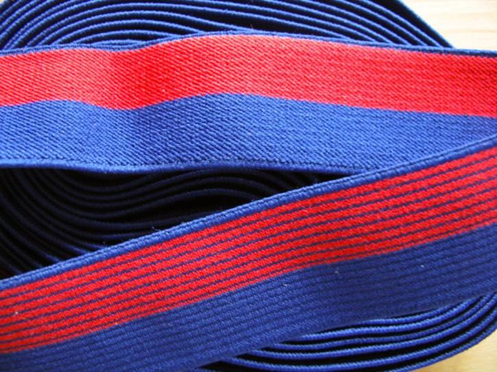 4m Bundgummi in rot/blau - 2,5cm