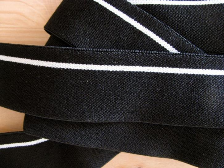 4m Bundgummi 30mm breit, in schwarz Fb4000, weißer Streifen