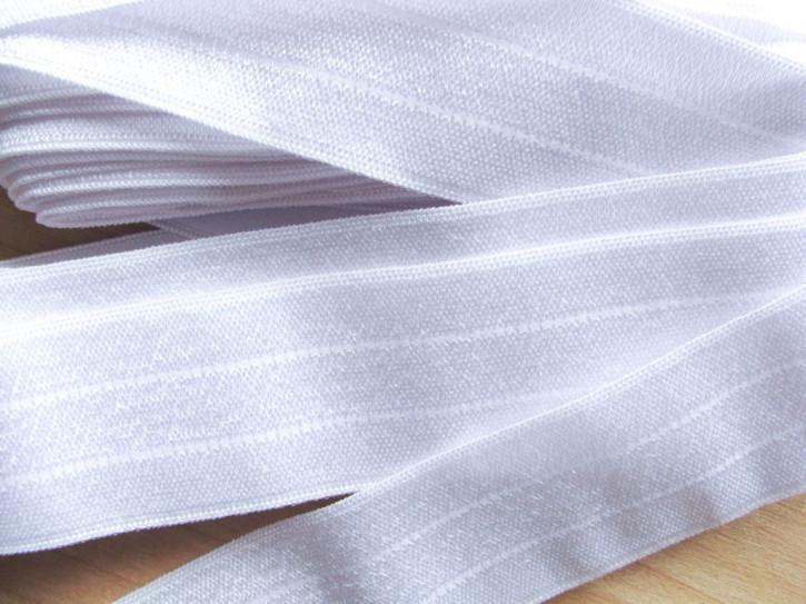 4m Bundgummi in rein-weiß  - 2,6cm breit Fb2000