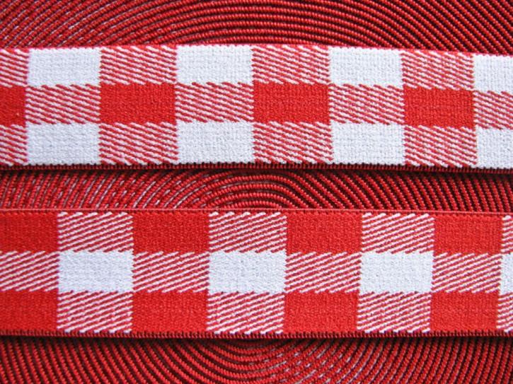 3m Bundgummi mit Karomuster in rot/weiß - 2,5cm