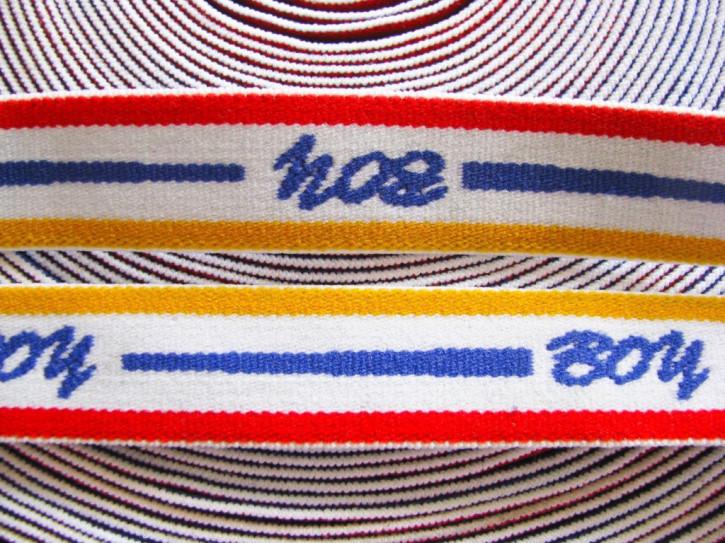"""4m Bundgummi """"Boy"""" in weiß, rot, blau und gelb"""