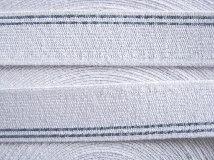 4m Bundgummi 25mm breit, in rein-weiß Fb2000, h.graue Streifen