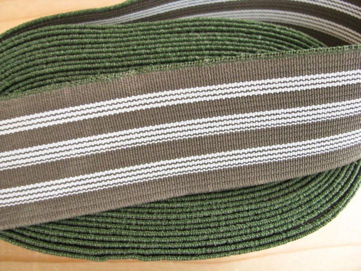 4m Bundgummi im Streifendesign in khaki/weiß Fb0660