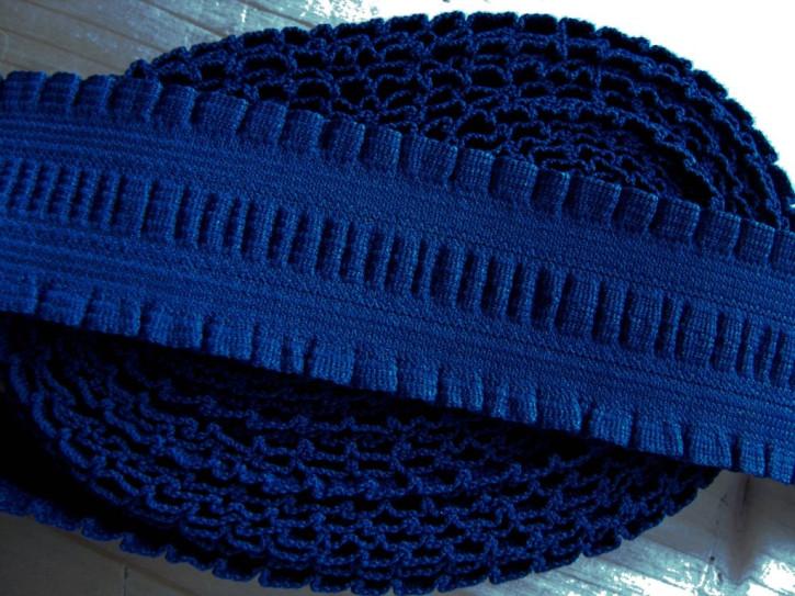 """4m Bundgummi mit """"Rüschen"""" in d.marine-blau Fb0825 - 3,8cm"""