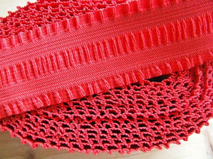 """4m Bundgummi mit """"Rüschen"""" in hot-rot Fb0503 - 3,8cm"""