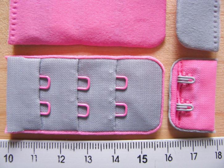 BH-Verschluss/zweifärbig - silber-grau und pink Fb3501...