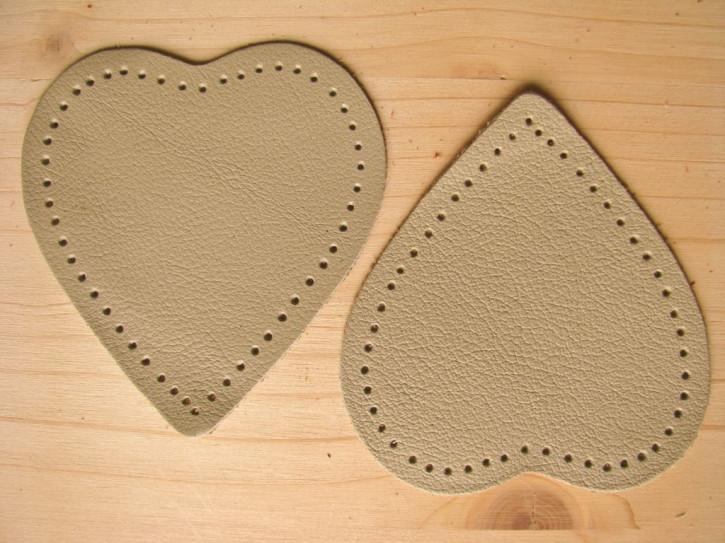 2 Stk. Lederherzen Flicken zum Aufnähen in silber-grau Fb0852