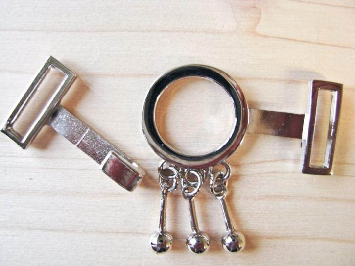 2 Paar Verschlüsse in silber/Metall