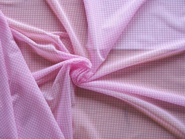 1 Cupon/1,5m x 1,2m  bi-elastischer Wäschetüll rosa/weiß karriert