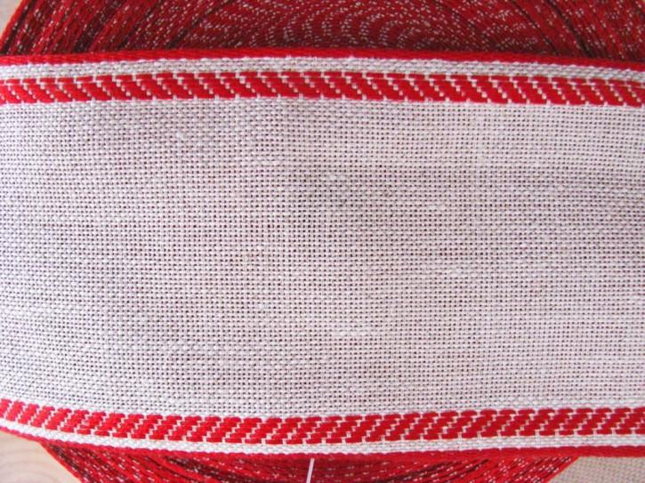 1m Leinen-Stickband in natur-leinen mit Kante in rot - 8cm