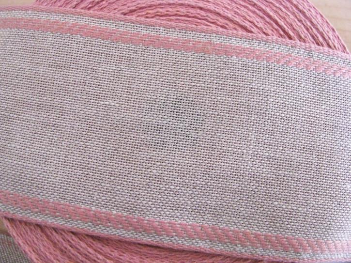 1m Leinen-Stickband in natur-leinen mit Kante in rosa - 8cm