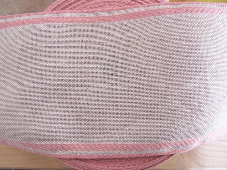 1m Leinen-Stickband in natur-leinen mit Kante in rosa - 11cm