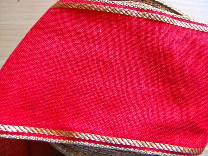 1m Leinen-Stickband in rot mit Gold-Kante - 10,5cm