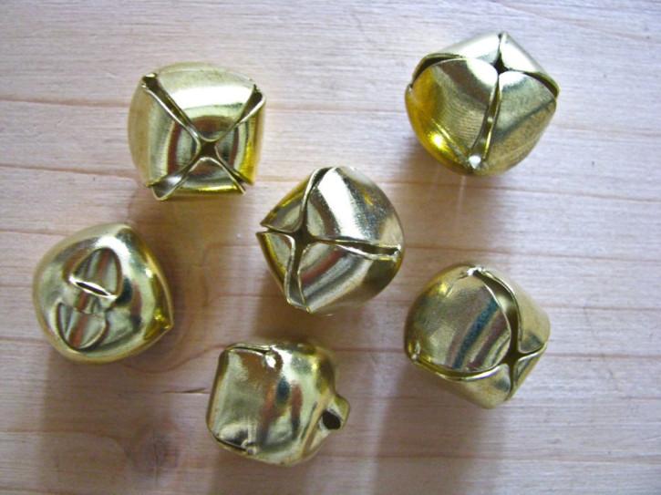 6 Stk. Schellen in gold aus Messing