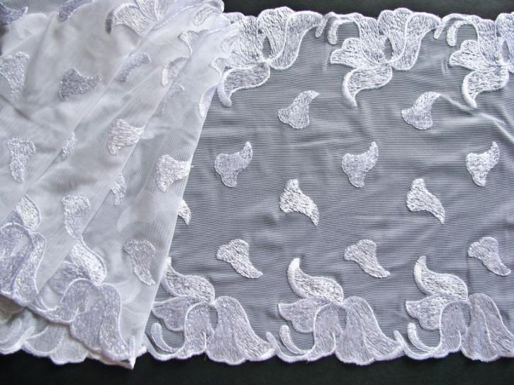 1m elastische, bestickte Spitze in rein-weiß Fb2000