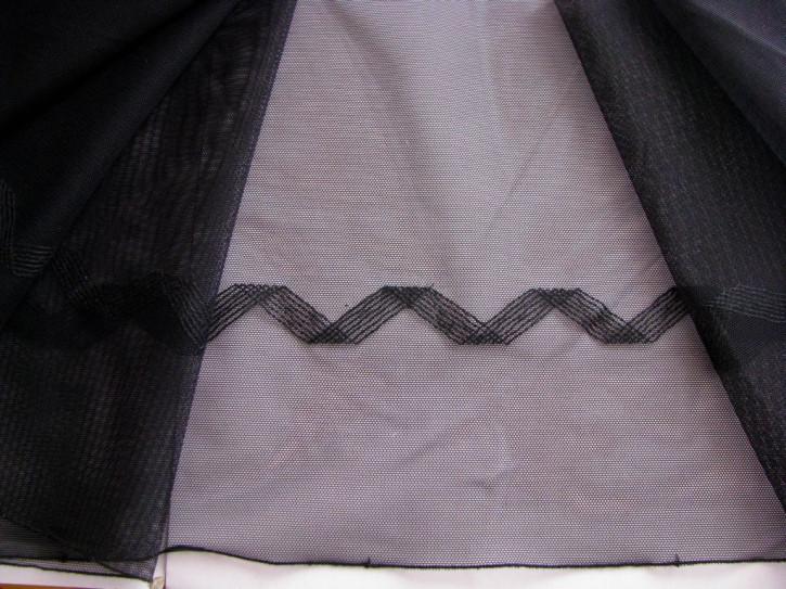 1m elastischer, bestickter Spitzeneinsatz in schwarz Fb4000