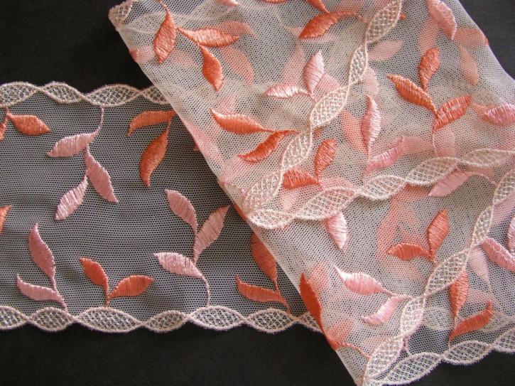 """1m elastische, bestickte Spitze """"Peach Blossom"""""""