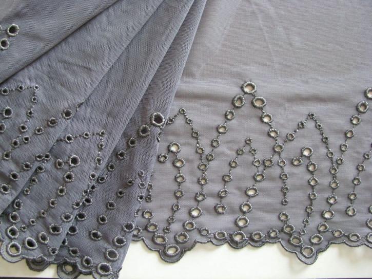 1m elastische, bestickte Spitze in stahl-grau Fb0878