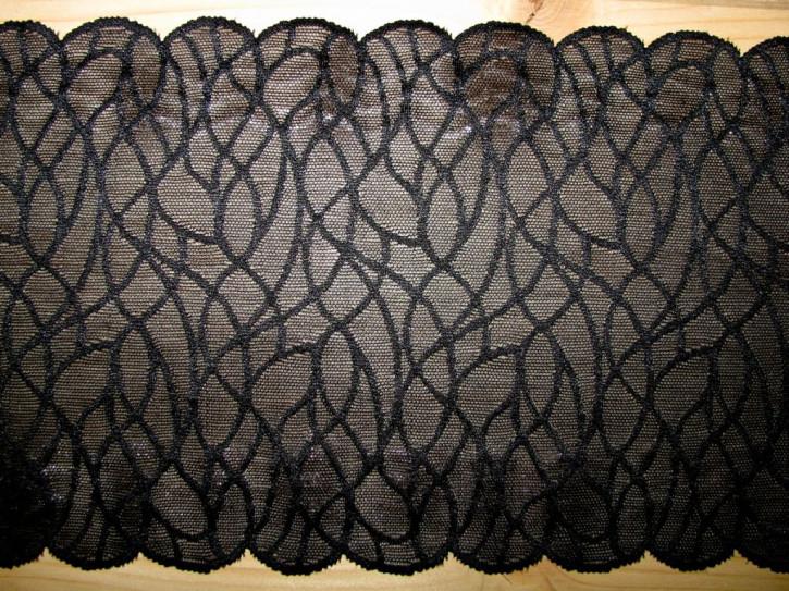 1m elastische Spitze in schwarz mit Silikonstreifen Fb4000
