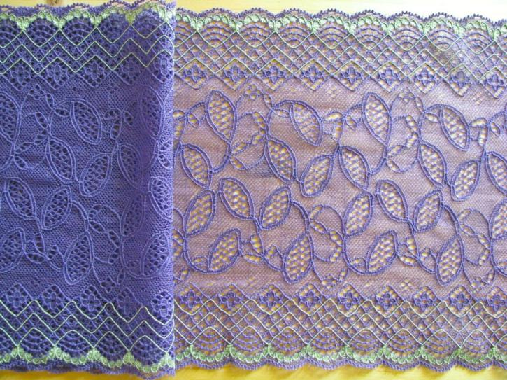 "1m elastische Spitze ""Violet Leaves"""