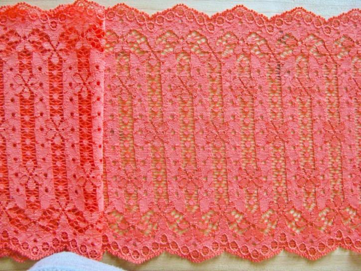 1m elastische Spitze in orange-rot/koralle Fb0507