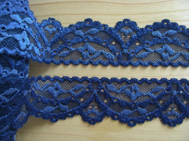 2m elastische Spitze in marine-blau Fb1305 und puder-blau