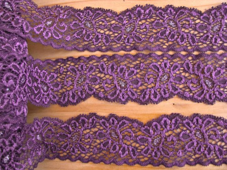 2m elastische Duo-Spitze in purple-violett Fb0040....silber