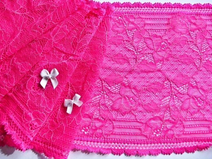 1m elastische Spitze in neon-pink/grelles lip-stick Fb1421