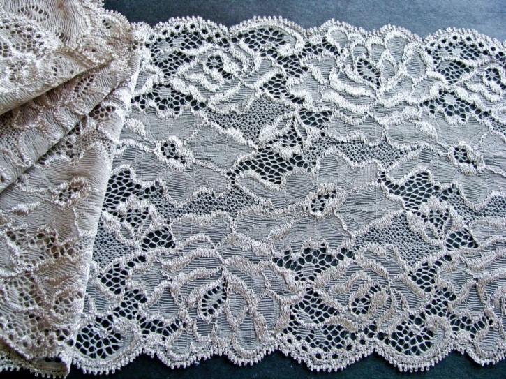 1m elastische Spitze in perle/silbriges beige Fb0327