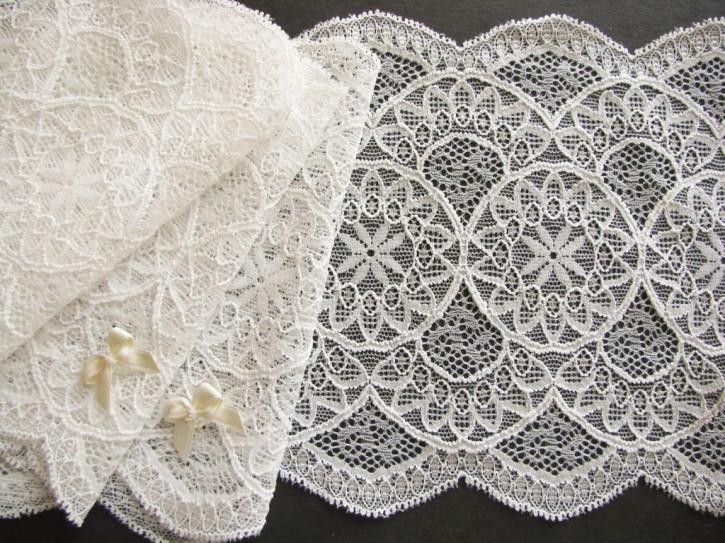 1m elastische Spitze in ecru/winter-weiß Fb1451