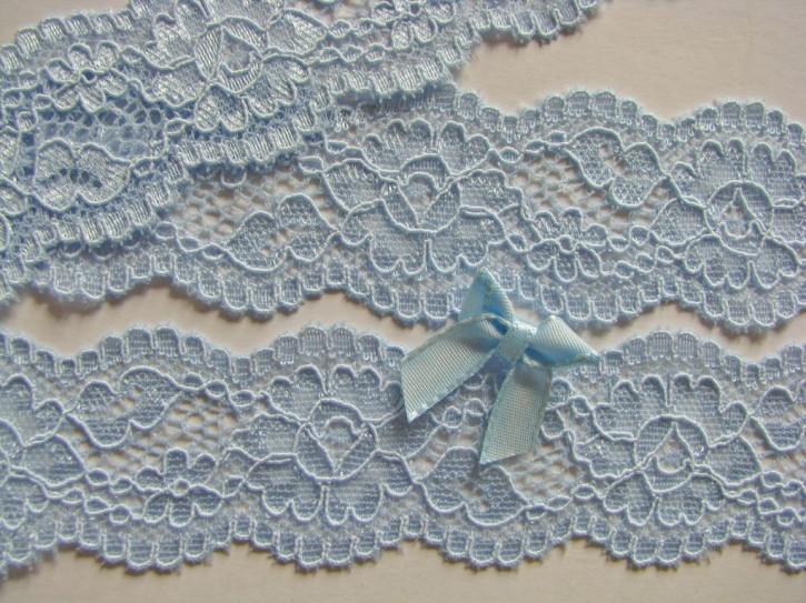 2m elastische Abschluss-Spitze in himmel-blau Fb0814