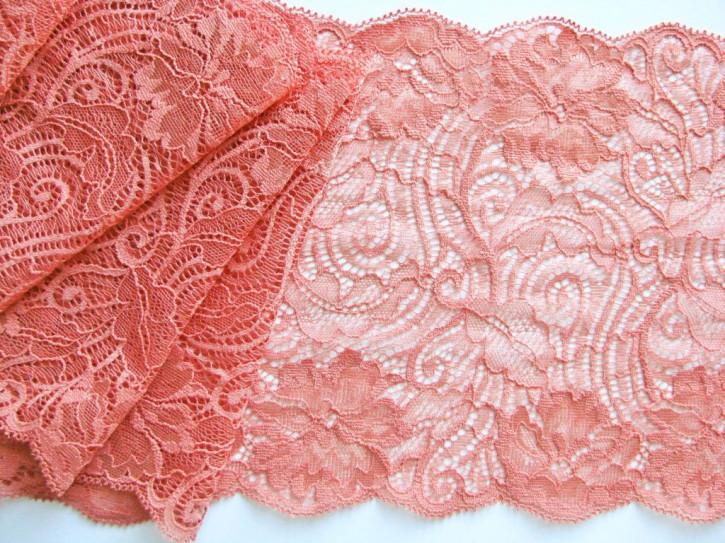 1m elastische Spitze in gedämpftem terra/rose-petal Fb1400