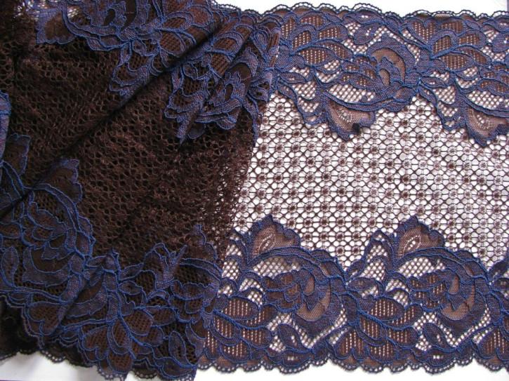 """1m elastische XL-Spitze """"Royal Laces"""" in kaffee-braun und royal-blau"""