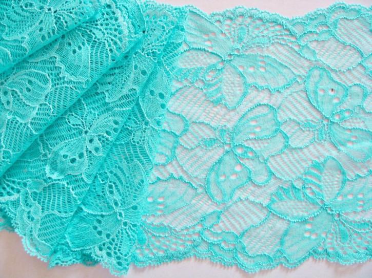"""1m elastische Spitze """"Schmetterlinge"""" in pool-blau Fb0409"""
