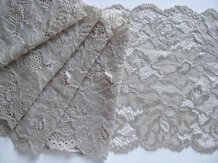 1m elastische Spitze in silber-grau Fb0412