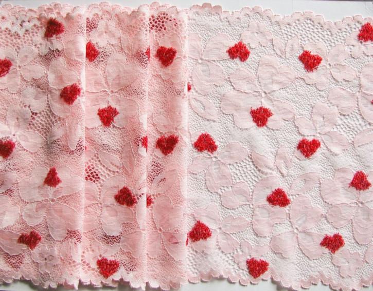 """1m XL-elastische Spitze """"Sweet Heart"""" in zartem Rosa Fb1456..."""
