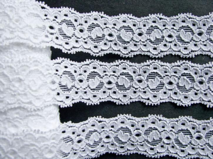 2m elastische Spitze in rein-weiß Fb2000 - 2,5cm