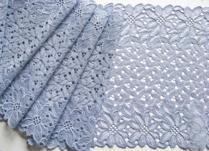 1m elastische Spitze in chambray/tauben-blau Fb1363 - 20,5cm