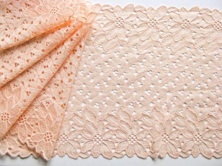 1m elastische Spitze in pfrisich-blüte Fb0076 - 20,5cm